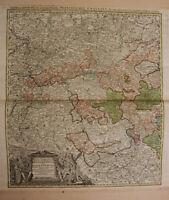"""teilkol. Kupferstichkarte Homann """"Electoratus Moguntinus"""" um 1730 Rheinland sf"""