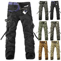 MENS FASHION ARMY CARGO CAMO COMBAT MILITARY COTTON WORK TROUSERS CASUAL PANTS