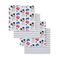 Mickey Mouse Grey, Blue, Red 4 Pack Flannel Receiving Blankets by Disney
