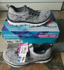 Sketchers trainers size 4 eur 37 memory foam flyknit grey white new with box UK