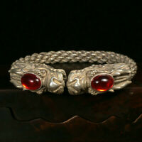 Collectible Chinese Ruby Tibet Silver Handwork Auspicious Dragon Bracelet