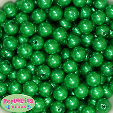 14mm Christmas Green Acrylic Faux Pearl Bubblegum Beads Lot 20 pc.chunky gumball