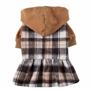 Cute Classic Plaid Pet Dog Dress Clothes Warm Puppy Cat Princess Dresses Outfits