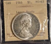 1966 Canada Dollar  -  Graded - ICCS MS63 Large Beads