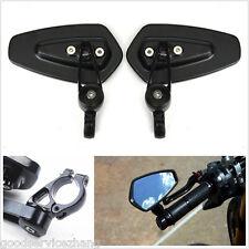 "Universal Black Motorcycle Billet Aluminum 7/8"" Bar End Side Rearview Mirrors"