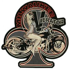 Vintage Pin Up Girl Milwaukee Vibrator Large Harley Club Embroidered Patch 10.5""