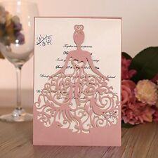 100pc Laser Wedding Invitation Cards Handmade Invitations and inner sheet Pink