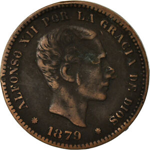 [#862683] Coin, Spain, Alfonso XII, 5 Centimos, 1879, VF(20-25), Bronze, KM:674