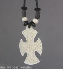 Ethno Kette Kreuz keltisch Anhänger aus Knochen Handarbeit S-Bal32