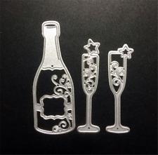 Stanzschablone Champagner Glas Sekt Flasche Liane Rebe Album Karte Foto Deko DIY