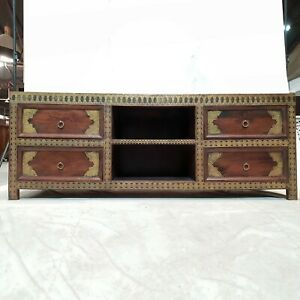 Brass work Indian Antique look Solid Wood TV Unit Media console 165x45x60cm