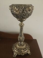 Vintage Antique Rare Collector Chalice Candle Holder Brass Handcrafted Tall 17in