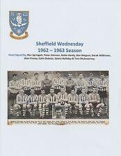 Sheffield Wednesday 1962-1963 Raro Original grupo del equipo de Revista Firmada a Mano