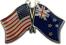 USA - NEW ZEALAND  FRIENDSHIP CROSSED FLAGS LAPEL PIN - NEW - COUNTRY PIN