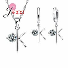 925 Sterling Silver OK Cubic Zirconia Necklace and Earring Set & Velvet Pouch