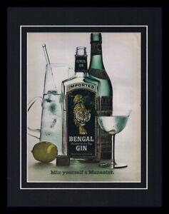 1966 Bengal Gin Framed 11x14 ORIGINAL Vintage Advertisement