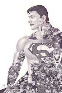 Supermanand his top villains - original artwork - graphite pencil on thick pape