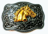 ✖ WESTERN Horse Profile Cowboy Rodeo Style Belt Buckle Buck Gold antique silver