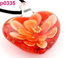 Red handwork Blooming Flower Art lampwork Glass beaded Pendant necklace p335