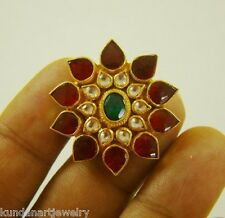 22K GOLD PLATED BRIDAL RING KUNDAN HANDMADE INDIA JEWELRY FASHION WEDDING RING
