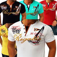 ZAHIDA Herren T-Shirt 2in1 Shirt Clubwear V-Neck Designer Polo M L XL XXL 3XL