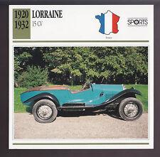 1920-1932 Lorraine 15 CV Silken Six Race Car Photo Spec Sheet Info ATLAS CARD