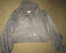 Arden B Cowl Neck Sequin Sweater Steel Grey Silver Extra Small XS