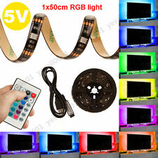 50CM USB LED TV PC Backgroud RGB Multi-Color Strip Light Remote Control Kit
