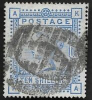 1884 QV SG183 10s Ultramarine KA High Value Very Fine Used CV £525