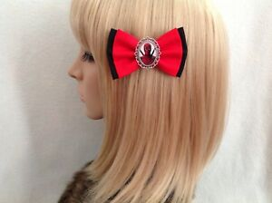 Deadpool hair bow clip rockabilly pin up girl geek marvel avengers red black