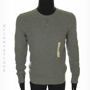 SONOMA Men's SMALL GRAY SWEATER Chunky Waffle Knit ELBOW PATCH Crew Neck GREY