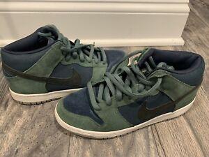 Nike SB Dunk Mid Nori 2012 Navy Blue Green Suede Grey White Mens SZ 9.5 sneakers