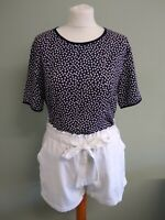 Vtg 90's Navy-White Polka Dot French Chic Short Sleeves Top/Shirt 12/M Holiday