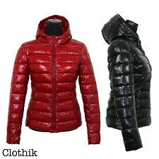 PIUMINO DONNA giacca bomber lucido con cappuccio giubbotto invernale imbottito