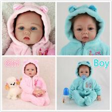 "22"" Handmade Twins Reborn Baby Dolls Newborn Babies Vinyl Silicone Doll Girl+Boy"