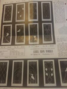 Original 1950 METAL SCREEN DOOR Guard Grille Ad Charleston SC Iron Ornamental