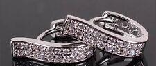 18K White Gold Diamond  Hoop Earrings 363
