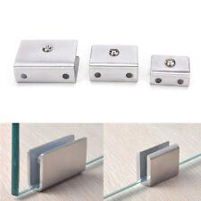 4pcs 6-12mm Stainless Steel Square Clamp Holder Clip For Glass Shelf Handrail BA