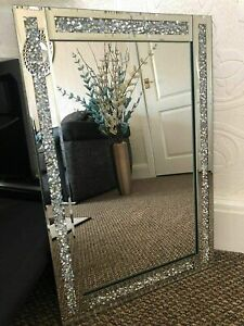 Large Crushed Diamond Jewel Framed Silver Bordered Wall-Mounted Mirror 40x60cm