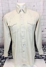 Vintage 1970's Fenton Rockabilly Western Pearl Snap Men's Shirt 15-1/2-34 Tan
