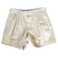 Polo Ralph Lauren Size 36 Andrew Shorts Yellow Pleated Front Chino Mens Vintage