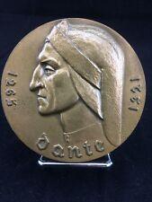 MÉDAILLE BRONZE : DANTE 1265-1321 POÉSIE MONNAIE DE PARIS signée BOURET 1988.