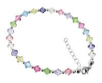 Sterling Silver Swarovski Elements Multi Crystal Anklet Ankle Bracelet #BDA032