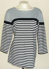 Karen Scott Sport Womens Knit Blouse Size X Large Gray Black White Stripes Top