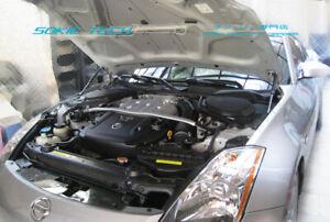 Black Strut Hood Shock Lift Stainless Damper Kit For Fairlady Z 350Z Z33 03-08