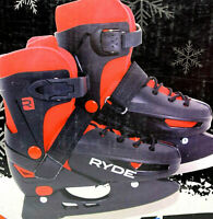 Ryde Ice Skates Boys Sz 3-6 Adjustable Youth Winter Learning Grow With Your Kids