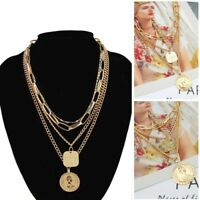 Gold Plated Jewelry Multilayer Pendant Chain Clavicle Women Choker Necklace