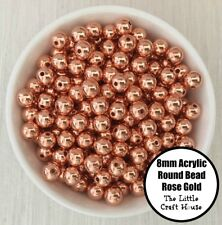 50PC 8mm Acrylic Beads Round Rose Gold Spacer Bead Shiny Plastic Bubblegum DIY