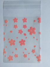 25 Cellophane Pink Flower Bags: party, craft, sweets, candy, cookie bags