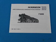 Marklin F 800 Locomotive with Tender Replica booklet 0355